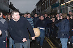 Shrove Tuesday Football. Atherstone Warwickshire UK 2008. Kicking the ball Long Street.