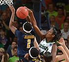 Mar 20, 2012; Devereaux Peters (14) blocks the shot of California Golden Bears guard Afure Jemerigbe (2) during the second half in the second round of the 2012 NCAA women's basketball tournament. Notre Dame won 73-62. ..Photo by Matt Cashore/University of Notre Dame