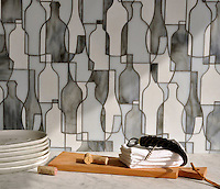 Bottles, a waterjet glass mosaic shown in Moonstone, Opal and Tourmaline, is part of the Erin Adams Collection for New Ravenna Mosaics.<br />