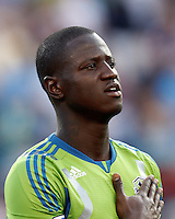Seattle Sounders FC forward Eddie Johnson (7). In a Major League Soccer (MLS) match, the New England Revolution tied the Seattle Sounders FC, 2-2, at Gillette Stadium on June 30, 2012.