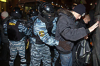 Moscow, Russia, 15/12//2010..Riot police search youths near Kievsky railway station, where police detained up 1,000 people during an operation to prevent ethnic riots. There were scuffles as hundreds of riot police were deployed to prevent clashes between Russian nationalists and traders from the Caucasus, many of whom work at a market near the station.