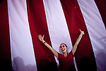 Doris Estavillo cheers for Mitt Romney and Rep. Paul Ryan at a campaign rally in Daytona Beach, Florida, October 19, 2012.