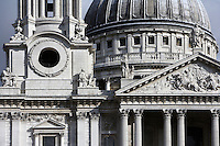 St Paul's Cathedral, 1675 - 1710, architect Sir Christopher Wren : Detail of bell tower, pediment and dome, London, England, UK Picture by Manuel Cohen