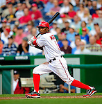 3 July 2009: Washington Nationals' center fielder Nyjer Morgan recently acquired from the Pittsburgh Pirates, at bat against the Atlanta Braves at Nationals Park in Washington, DC. The Braves defeated the Nationals 9-8 to take the first game of the 3-game weekend series. Mandatory Credit: Ed Wolfstein Photo