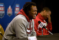 Alabama linebacker Dont'a Hightower laughs while talking with the reporters during BCS Championship Alabama Defensive Press Conference at Marriott Hotel at the Convention Center in New Orleans, Louisiana on January 7th, 2012.