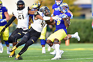 Newark, DE - OCT 29, 2016: Towson Tigers linebacker Jordan Mynatt (41) tackles Delaware Fightin Blue Hens wide receiver Jamie Jarmon (6) during game between Towson and Delaware at Delaware Stadium Tubby Raymond Field in Newark, DE. (Photo by Phil Peters/Media Images International)
