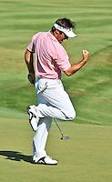 Trevor Immelman British Open Champion sinks birdie putt on 18th hole of 2008 Stanford St. Jude Golf tournament to tie Justin Leonard to go into a playoff.