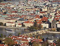 View of the Old Town with crowds of tourists on the Charles Bridge or Karluv most crossing the Vltava river, Prague, Czech Republic. The historic centre of Prague was declared a UNESCO World Heritage Site in 1992. Picture by Manuel Cohen