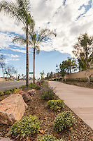 The Fair Drive street sign stands between two trees along the Harbor Boulevard Cornerstone Bike Trail in Costa Mesa, California under a partly cloudy blue sky.  The rocks, landscaping, shrubs, and trees are all visible.  The landscape architecture work on the project was done by David Volz Design.