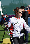 LONDON, ENGLAND 08/30/2012:  Line Tremblay's assistant Linda Gagnon after the Women's Individual Recurve- W1/W2 at the London 2012 Paralympic Games in the Royal Artillery Barracks. (Photo by Matthew Murnaghan/Canadian Paralympic Committee)
