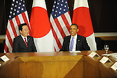 United States President Barack Obama, right, meets Prime Minister Yoshihiko Noda of Japan, left, Wednesday, September 21, 2011 at United Nations Headquarters in New York, New York..Credit: Aaron Showalter / Pool via CNP