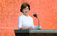 Former United States First Lady Laura Bush speaks at the opening ceremony of the Smithsonian National Museum of African American History and Culture on September 24, 2016 in Washington, DC. The museum is opening thirteen years after Congress and President George W. Bush authorized its construction. <br /> Credit: Olivier Douliery / Pool via CNP / MediaPunch