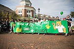 The Ohio Hillel chapter marches in the OU homecoming parade on Oct. 11, 2014.