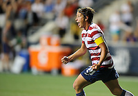 Chester, PA - Sunday, May 27, 2012: Abby Wambach celebrates after scoring a goal. The USWNT defeated China 4-1 during an international friendly match at PPL Park.
