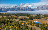 Grand Teton National Park, WY: Morniing light on the Teton Range overlooking the Snake River Valley