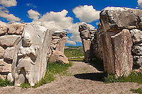 Photo of the Hittite releif sculpture on the Kings gate to the Hittite capital Hattusa 7