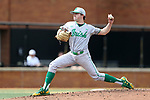 WAKE FOREST, NC - APRIL 15: Notre Dame's Michael Hearne throws a pitch. The Wake Forest Demon Deacons hosted the University of Notre Dame Fighting Irish on April 15, 2017, at David F. Couch Ballpark in Wake Forest, NC in a Division I College Baseball game. Wake Forest won the game 13-7.