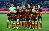 20170411 - LEUVEN ,  BELGIUM : Belgian team pictured with Nicky Evrard (1) , Heleen Jaques (3) , Maud Coutereels (4) , Tine De Caigny (6) , Tessa Wullaert (9) , Aline Zeler (10) , Janice Cayman (11) , Lien Mermans (14) , Yana Daniels (15) , Laura Deloose (22) and Elien Van Wynendaele (23) during the friendly female soccer game between the Belgian Red Flames and Scotland , a friendly game in the preparation for the European Championship in The Netherlands 2017  , Tuesday 11 th April 2017 at Stadion Den Dreef  in Leuven , Belgium. PHOTO SPORTPIX.BE   DAVID CATRY