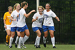 20 September 2009: Duke's Marybeth Kreger (17) celebrates her goal with Maddy Haller (18), Nicole Lipp (10) and Erin Koballa. The Duke University Blue Devils played the Louisiana State University Tigers to a 2-2 tie after overtime at Koskinen Stadium in Durham, North Carolina in an NCAA Division I Women's college soccer game.