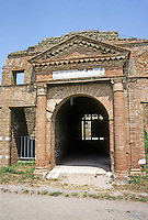 Italy: Ostia--entrance to Warehouse.  The Horrea (warehouse) Epiganthiana and Epaphroditiana, the Proprietors, of Greek or Asiatic origins, 2nd century A.D. At least 2 stories. Photo '83.