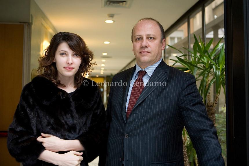 Milan, Italy, 2008. Milana Terloeva, Russian journalist and writer with Stefano Mauri, editor of Longanesi