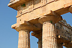 Close up of the ancient Doric Greek capitals &amp; columns of the  Temple of Hera of Paestum built in about 460-450 BC. Paestum archaeological site, Italy.