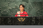 General Assembly Seventy-first session 10th plenary meeting<br /> General Debate<br /> <br /> <br /> Address by Her Excellency Aung San Suu Kyi, State Counsellor and Minister for Foreign Affairs of the Republic of the Union of Myanmar