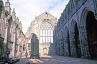 Edinburgh: Holyrood Abbey. Built in 1128 by order of King David I of Scotland. Photo '87.