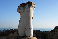 Low angle view of sculpture of a male torso outside the Villa of the Aviary, Carthage, Tunisia, pictured on January 29, 2008, in the afternoon. Carthage was founded in 814 BC by the Phoenicians who fought three Punic Wars against the Romans over this immensely important Mediterranean harbour. The Romans finally conquered the city in 146 BC. Subsequently it was conquered by the Vandals and the Byzantine Empire. Today the site is a UNESCO World Heritage. The Roman Villa of the Aviary is known for its fine mosaics depicting birds. Picture by Manuel Cohen.