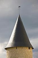 Tiled turret at Renaissance 15th Century Chateau du Rivau, Chateaux of the Loire, Loire Valley, France