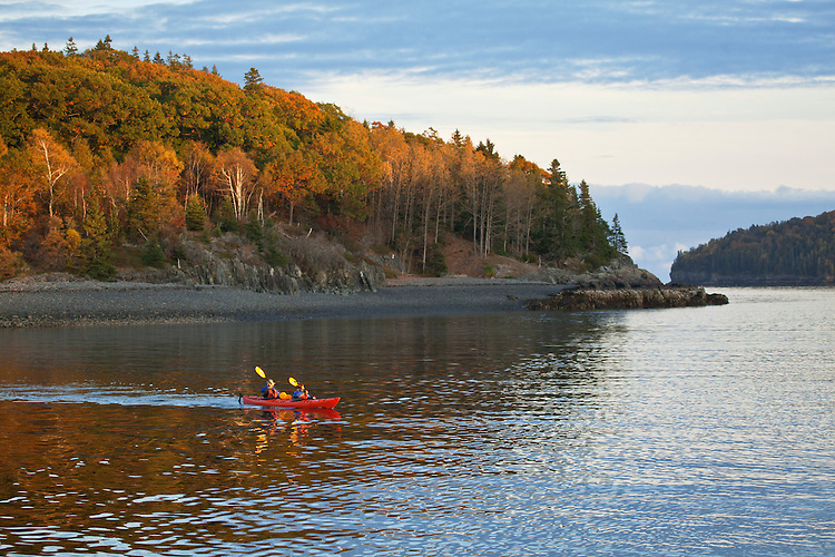 Kayakers paddle in Frenchman Bay near Bar Harbor and Acadia National Park, Maine