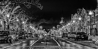 Downtown Oakville Christmas street lights, looking east on Lakeshore from Navy in black and white.
