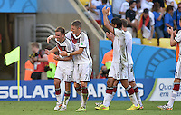 FUSSBALL WM 2014                VIERTELFINALE Frankreich - Deutschland           04.07.2014 Philipp Lahm, Bastian Schweinsteiger und Sami Khedira (v.l., alle Deutschland) freuen sich nach dem Abpfiff