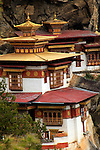 Taktsang Monastery, also known as Tiger's Nest, high in the cliffs above Paro valley.