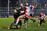 Chris Cook of Bath Rugby takes on the Gloucester Rugby defence. Anglo-Welsh Cup match, between Bath Rugby and Gloucester Rugby on January 27, 2017 at the Recreation Ground in Bath, England. Photo by: Patrick Khachfe / Onside Images