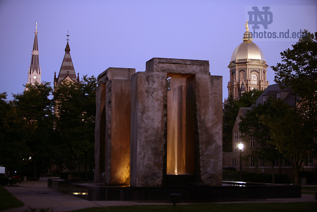 "The Clarke Memorial Fountain, also known as ""Stonehenge.""..Photo by Matt Cashore/University of Notre Dame"