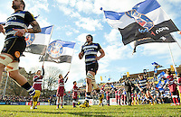 Charlie Ewels and the rest of the Bath Rugby team run out onto the field. Aviva Premiership match, between Bath Rugby and London Irish on March 5, 2016 at the Recreation Ground in Bath, England. Photo by: Patrick Khachfe / Onside Images