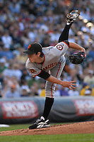 San Francisco Giants pitcher Tim Lincecum delivers a pitch against the Colorado Rockies. The Giants defeated the Rockies 6-5 at Coors Field in Denver, Colorado on May 20, 2008. FOR EDITORIAL USE ONLY. FOR EDITORIAL USE ONLY