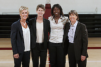 STANFORD, CA - SEPTEMBER 28:  Kate Paye, Amy Tucker, Bobbie Kelsey, and Tara VanDerveer during picture day on September 28, 2009 at Maples Pavilion in Stanford, California.