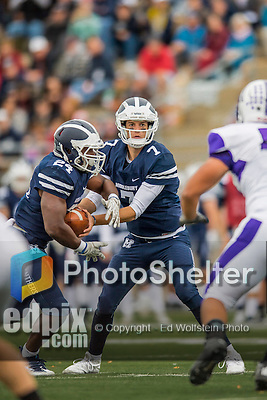 8 October 2016: Middlebury College Panther Quarterback Jared Lebowitz, a Junior from Burlington, VT, hands off to Running Back Diego Meritus, a Sophomore from Yarmouthport, MA, during game action against the Amherst College Purple & White at Alumni Stadium in Middlebury, Vermont. The Panthers edged out the Purple & While 27-26. Mandatory Credit: Ed Wolfstein Photo *** RAW (NEF) Image File Available ***