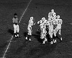 Bethel Park PA:  Offensive play with the Blackhawks huddling up before a play against the Wash High Prexies - 1970. Others in the photo; Mike Stewart 11, John Bender 27, Joe Barrett 75, Don Troup 51, Bruce Evanovich 80, Clark Miller 30, Dennis Franks 66. Bethel unvieled their new uniforms against Washington and ended up destroying the Prexies (42-12).  Two touchdowns each by Chip Huggins, Clark Miller and Mike Stewart was the largest offensive output of the season.