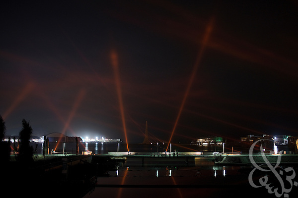 The King Abdullah University of Science and Technology breakwater beacon is illuminated at night.  KAUST is an international, graduate-level research university dedicated to inspiring a new age of scientific achievement in the Kingdom that will also benefit the region and the world. (Photo by Scott Nelson).