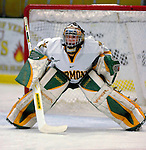 5 January 2007: University of Vermont goaltender Jeff Hill (1) from Cranston, RI, warms up prior to a Hockey East matchup against the University of New Hampshire Wildcats at Gutterson Fieldhouse in Burlington, Vermont. The UNH Wildcats defeated the UVM Catamounts 7-1 in front of a record setting 48th consecutive sellout at &quot;the Gut&quot;...Mandatory Photo Credit: Ed Wolfstein Photo.<br />
