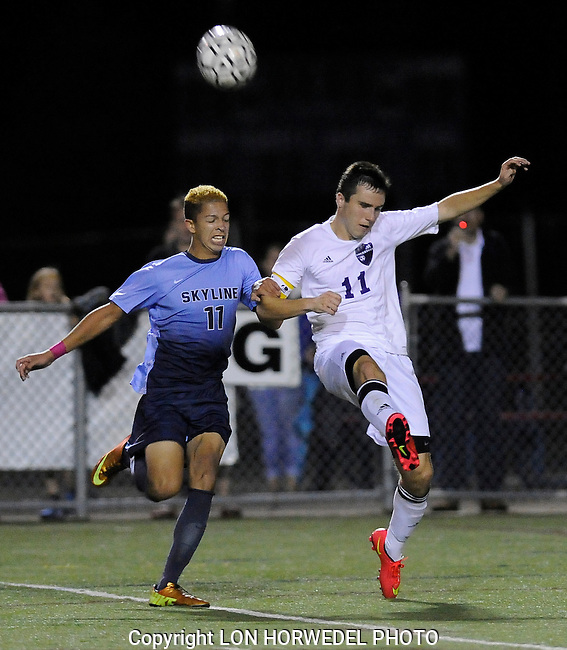 Skyline High School defeats Pioneer High School, 1-0, in MHSAA Div. 1 Boy's Soccer District game at Pioneer High School, Monday night, October 13, 2014.