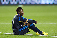 Freddy Adu (11) of the Philadelphia Union sits on the turf after the match. The Columbus Crew defeated the Philadelphia Union 2-1 during a Major League Soccer (MLS) match at PPL Park in Chester, PA, on August 29, 2012.