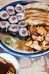 Japanese Calamari salad, Gyoza and Tekki Maki Tuna Rolls. ©2015. Jim Bryant Photo. All Rights Reserved.