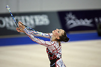 September 21, 2007; Patras, Greece;  Elizabeth Paisieva of Bulgaria mills with clubs during All-Around final at 2007 World Championships Patras.  Betty helped Bulgaria to receive the 2nd of 2 positions for the individual All-Around at Beijing 2008 Olympics.  Photo by Tom Theobald. .