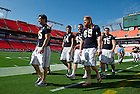 Jan 5, 2013; Members of Notre Dame football team walk onto the field for Media Day at the the Sun Life Stadium in Miami, Florida. Notre Dame will be squaring off against the Alabama Crimson Tide in the 2013 BCS National Championship Monday night. Photo by Barbara Johnston/University of Notre Dame..
