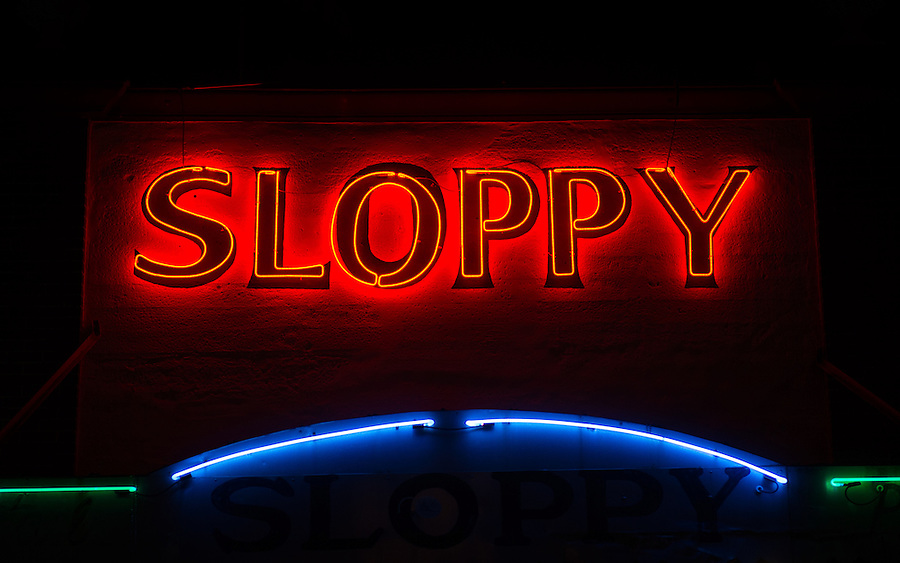 KEY WEST, FL - CIRCA 2012: Slopppy Joe's Bar neon sign in Duval Street  a landmark in Key West circa 2012. The tropical city is a popular tourist destination with over 2 million yearly visitors.