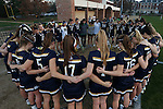 23 February 2017: Notre Dame players and coaches huddle before the game. The Elon University Phoenix hosted the University of Notre Dame Fighting Irish at Rudd Field in Elon, North Carolina in a 2017 Division I College Women's Lacrosse match. Notre Dame won the game 16-7.
